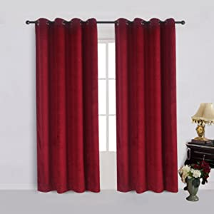 Cherry Home Set of 2 Classic Blackout Velvet Curtains Panels Home Theater Grommet Drapes Eyelet 52Wx84L-inch Red(2 Panels) Theater  Bedroom  Living Room  Hotel