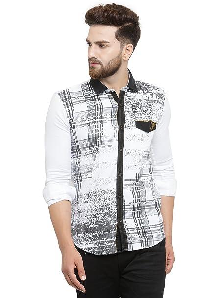 4b1b7a6f48 Kivon Men s Black Full Sleeve Printed Casual Shirts for Mens Stylish  Pattern (Size ...