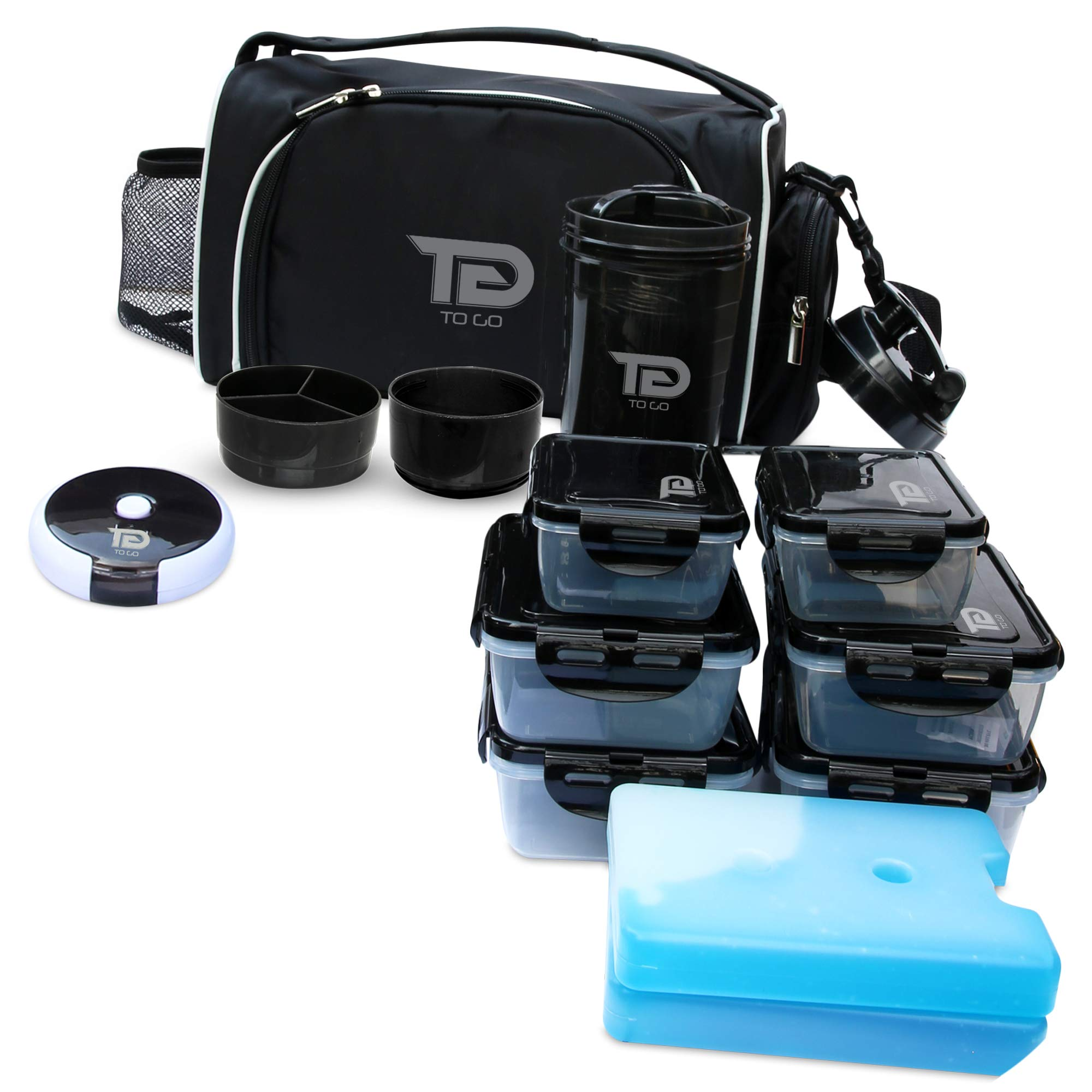 Meal Prep Bag By TO GO Insulated Lunch Meals Bag W/6 Portion Control Containers,2 ICE PACKS, Shaker, Pill Box,With an Adjustable shoulder. bag for meals (Black/new) by TO GO (Image #1)