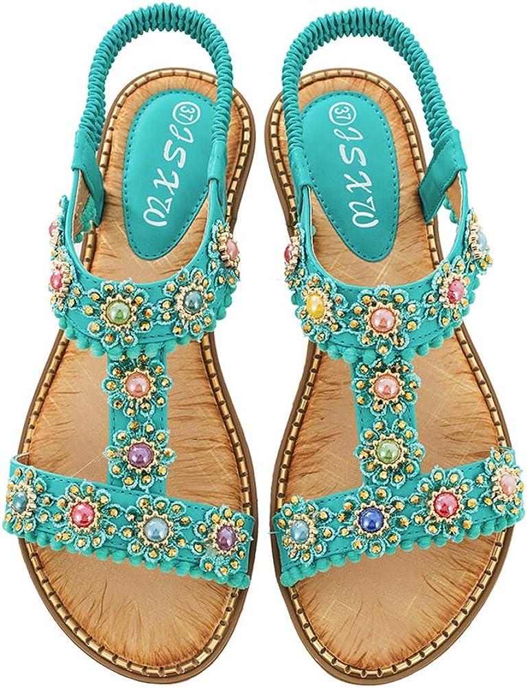 Mobnau Stylish Skidproof Beaded Jeweled Flat Womens Sandals