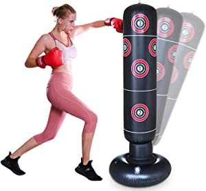 AK KYC 63inch Inflatable Punching Bag for Kids + Air Pump Set,Free Standing Boxing Bag Adults Vertical Boxing Column Heavy Bag Youth Speed Focus Bag Fitness Tumbler Bop Bag Home Training Equipment