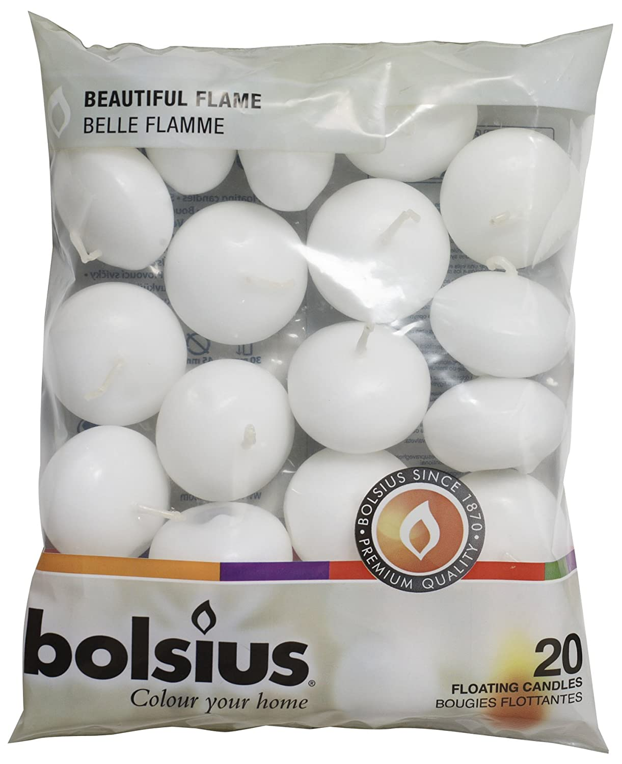Bolsius 103632053702 Floating Candle, Paraffin Wax, White Olore Home