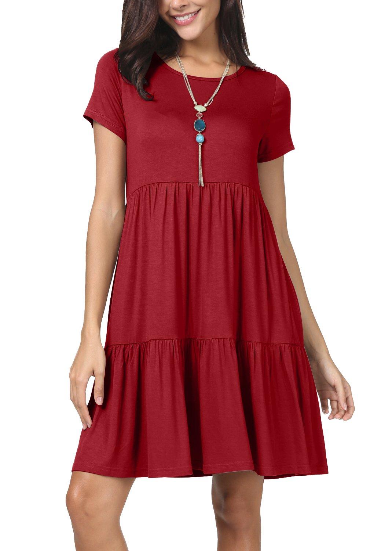 levaca Women Summer Plain Short Sleeve Pleated Casual Tunic Dress Wine XL