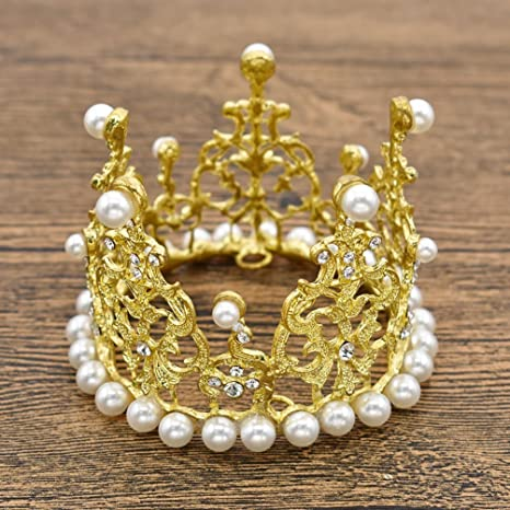 Gold YFaith Crown Tiara Cake Topper Pearl,Childrens Wedding Birthday Party Cake Decoration Hair Accessories