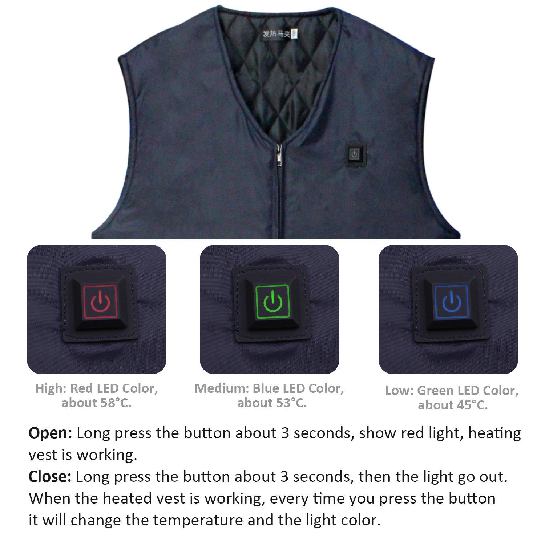Vinmori Electric Vestenhanced Winter Heating Gilet Washable Size Adjustable Usb Charging 5 Piece Clothing