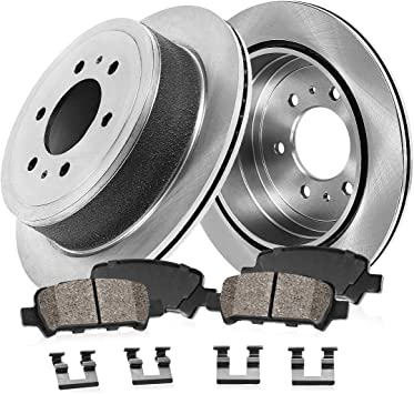 Max Brakes Rear Performance Brake Kit Fits: 2003 03 Chevy Silverado 1500 2WD//4WD Models w// 6 Lugs Rotors /& Single Piston Rear Calipers KT022022 Premium Cross Drilled Rotors + Ceramic Pads