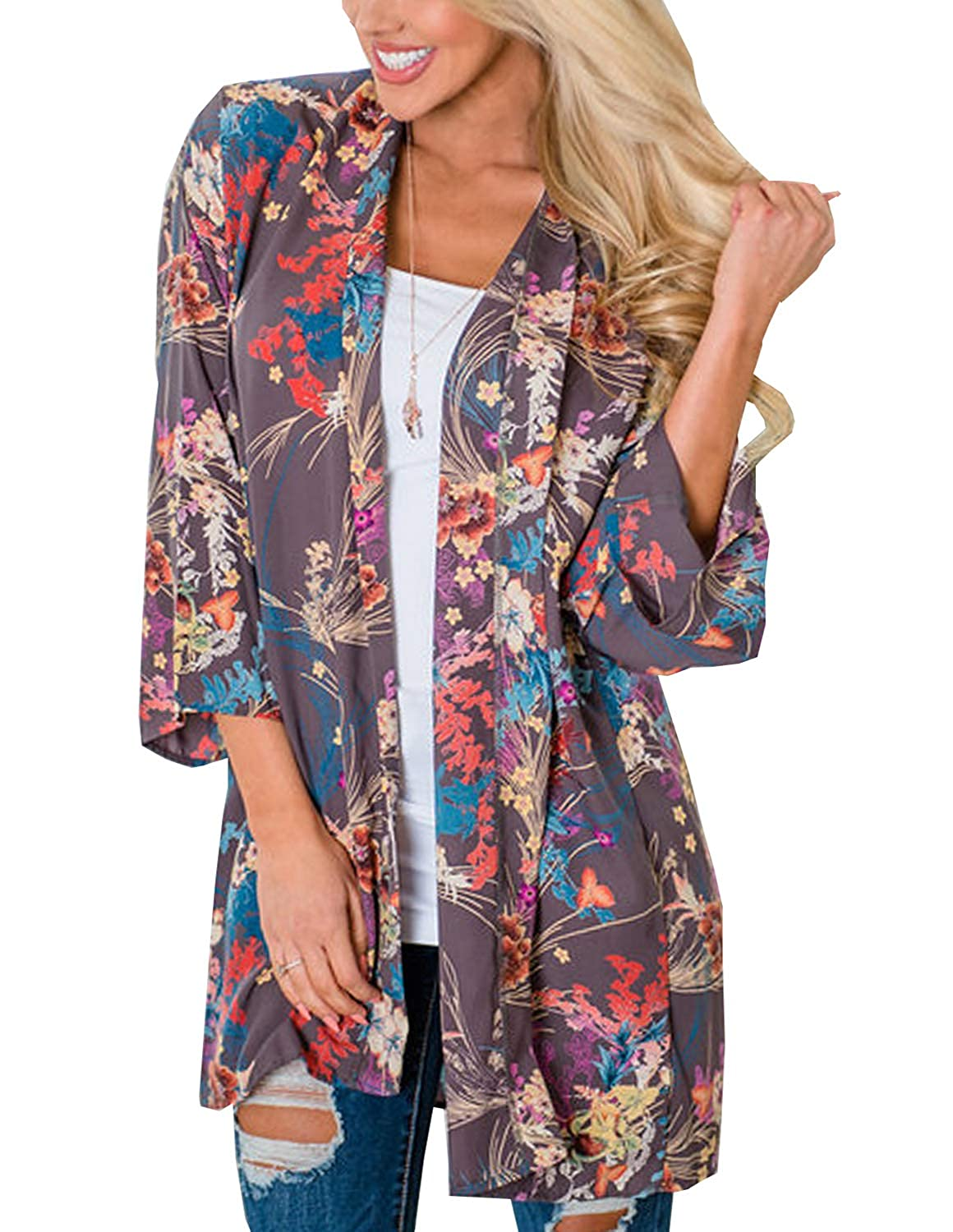 76499e4b260a3 FEATURES: Casual fashion floral printing cardigan. 3/4 Sleeve, open front  style, softness and fit, Airy material ...