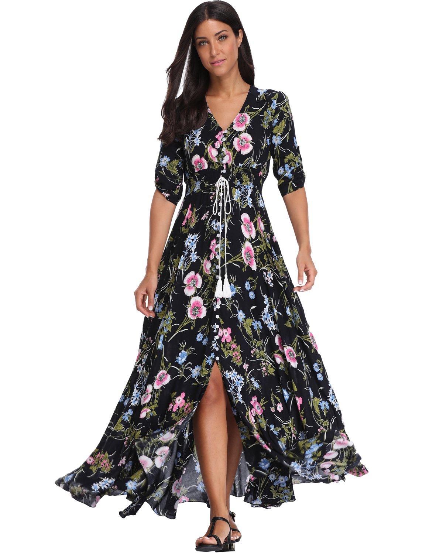 BestWendding Summer Floral Print Maxi Dress Women Button up Split Long Flowy Bohemian Beach Party Dresses Black&floral 1 XX-Large