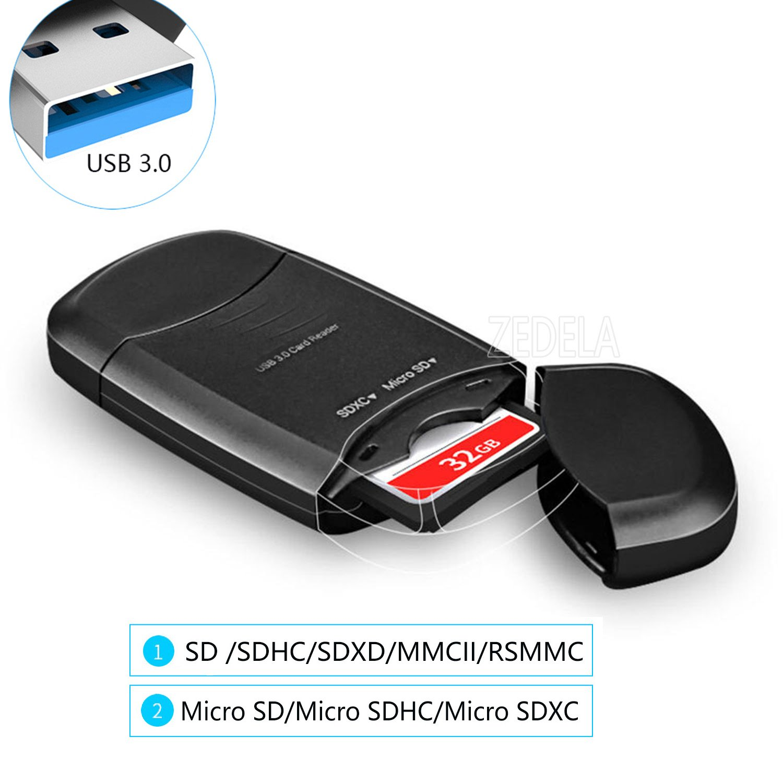 USB 3.0 Super Speed Multi Card reader   lettore di schede esterno TF/SD   max-5Gbit/s   lettura in parallelo di più schede di memoria, Supporta SDXC, SDHC, MMC, CFI, CFII, MS ecc   LED di potenza Llano T-DKQ-L-002