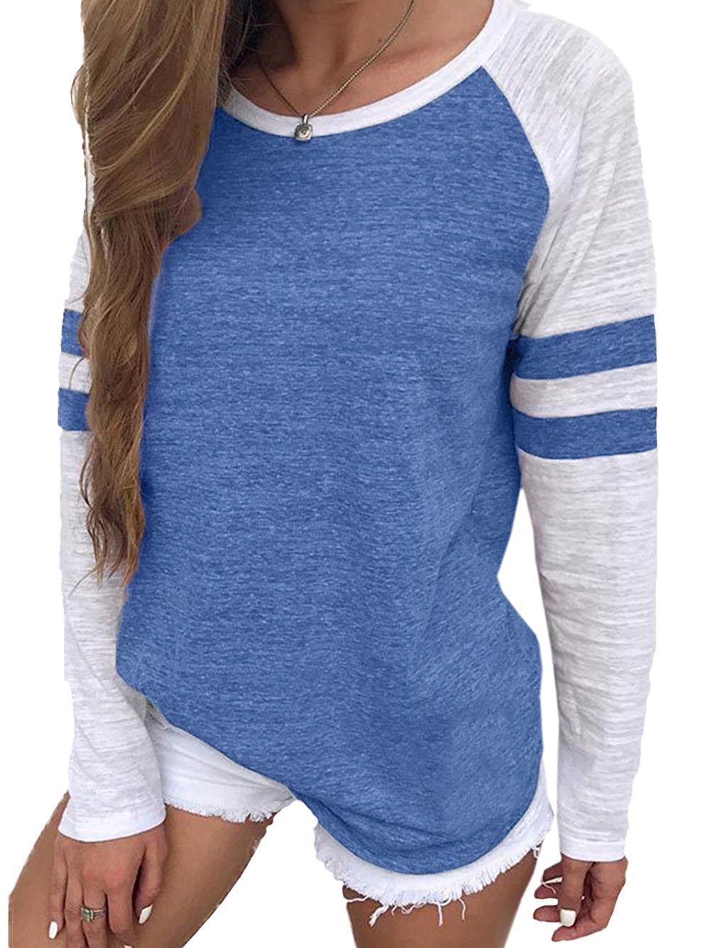SUNNYME YOTGAP Women's Tee Shirts Long Sleeve Blouses Baseball Colorblock Striped Tops Blue M
