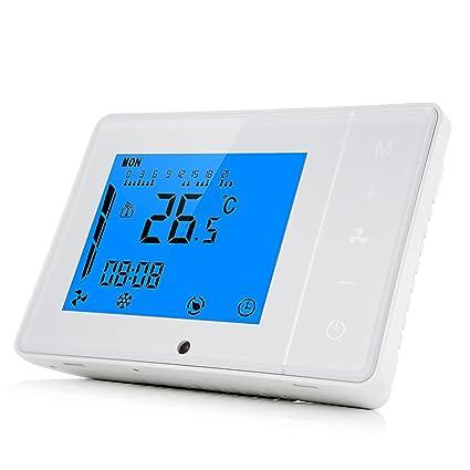 Hon&Guan Controlador de Termostato Inteligente para Aire Acondicionado Central , Tres Velocidades Ventilador de Conductos -