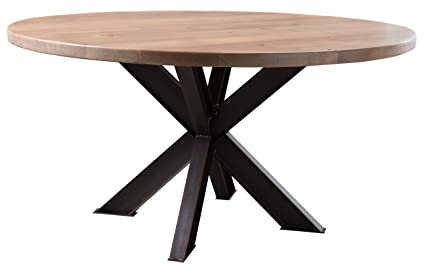 Round Industrial Steel X Pedestal Table (54u0026quot; Round, Charred Ember ...