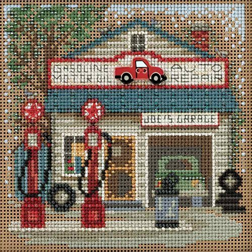 Joe's Garage Beaded Counted Cross Stitch Kit Mill Hill 2016 Buttons & Beads Spring MH141614 Main Street - Cross Mill Stitch Kit