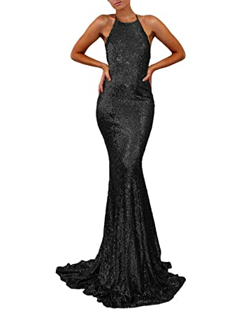 YIRENWANSHA Fashion Prom Dress 2018 Formal Evening Dresses for Women Empire Waist Halter Open Back Long