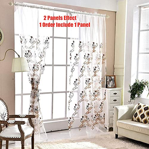 AiFish 1 Panel Sheer Curtain Panels 72 Inch Long Bedroom Embroidered Floral and Vine Rod Pocket Top Voile Curtains Home Decor Tulle Curtains Drapes Girls Window Treatment