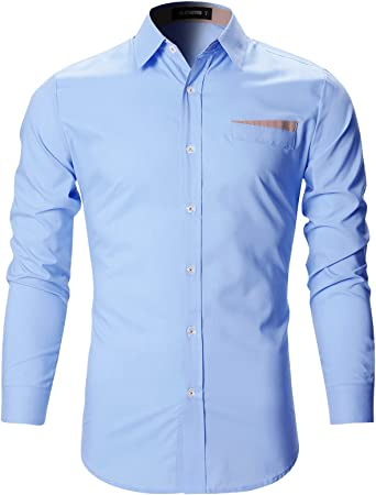 Etecredpow Mens Button Down Lapel Easy Fit Solid Color Long Sleeve Shirts