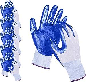 FULIM Nitrile Grip Coated Work Gloves, Garden Working Gloves for Men & Women, Reusable Washable Gloves, Blue Medium, 10 Pairs Pack