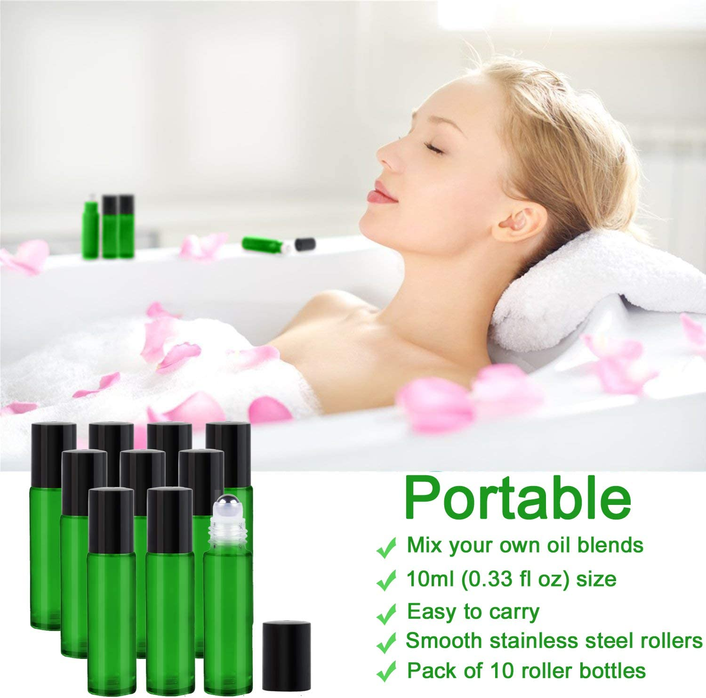 Parfait pour laromath/érapie Inclus 1 d/écapsuleur et 1 compte-gouttes 10 flacons roll-on pour huiles essentielles 10 ml Vert Bouteilles en verre avec billes en acier inoxydable