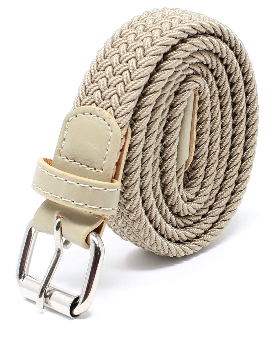 Kids Braided Elastic Woven Stretch Belt Chrome Buckle and Leather Tip Perfect for Children School Uniform