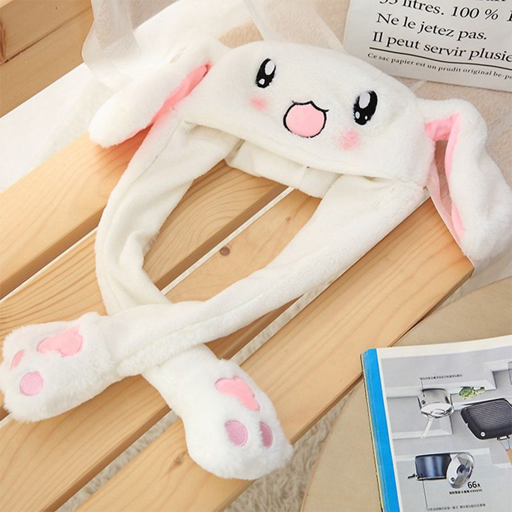 Christmas eve Interesting Funny Toys Pinching Rabbit Hat'S Ear Can Move with Airbag Cap Plush Cute Hat Attractive Toys Gift for Women & Child in Cosplay/Party, White by Christmas eve