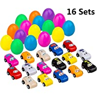 16-Pack DoitY Toy Filled Easter Eggs with Mini Pull Back and Let Go Fast Racing Car