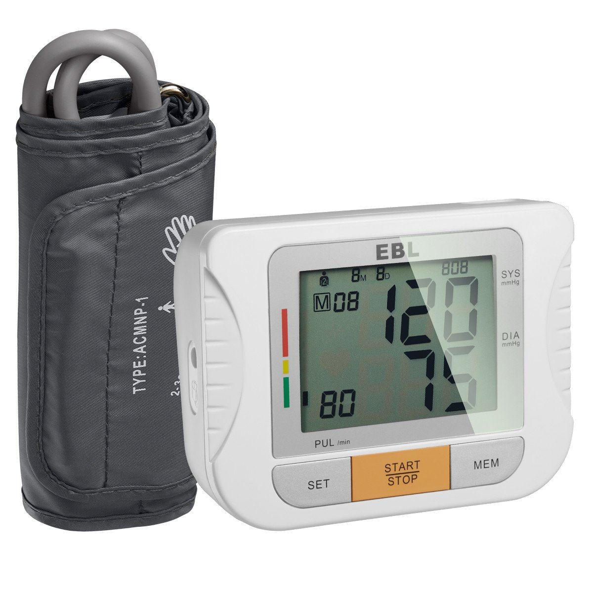 EBL Upper Arm Blood Pressure Monitor with Cuff - Large LCD Display - Highly Accurate and Lightning Fast, FDA-Certified