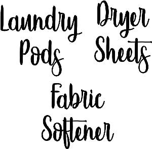 Black - Laundry Room Vinyl Decal Set - Laundry Pods - Fabric Softener - Dryer Sheets - V4-20 Color Options