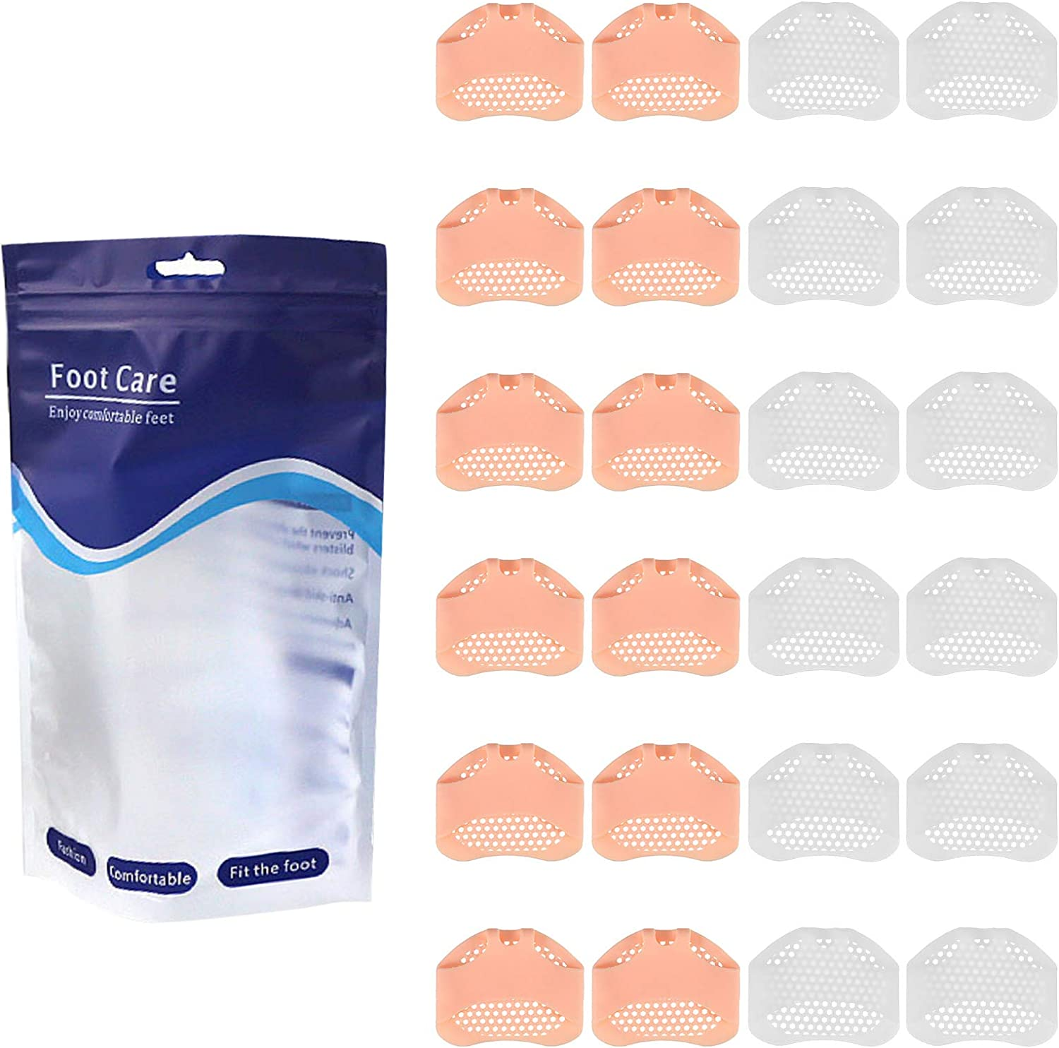 Hippie Soul 12 Pairs Ball of Foot Cushions Silicone Metatarsal Pads Honeycomb Forefoot Pad Soft Gel Foot Cushion for Reducing Forefoot Pain Callus Blisters: Health & Personal Care