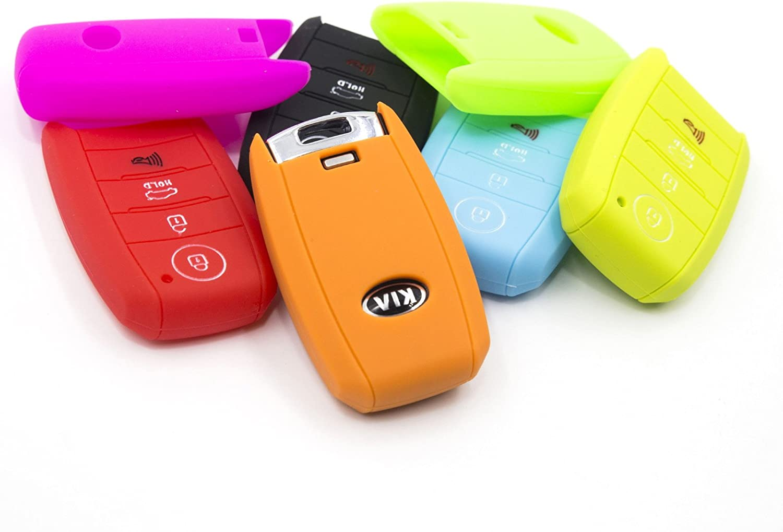 LIGHTKOREA Fob Remote Smart Key Case Protector Silicone Cover Compatible with Kia Sportage Cerato Forte Sports GT Sorento Soul NIRO Seltos Telluride Red