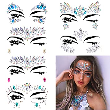 2025947ea Amazon.com : 6 Sets Women Mermaid Face Gems Glitter, Rhinestone Rave Festival  Face Jewels, Crystals Face Stickers, Eyes Face Body Temporary Tattoos :  Beauty