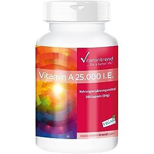 Vitamina A 25.000 I.E acetato de retinol – producto vegano – altas dosis – 240 cápsulas