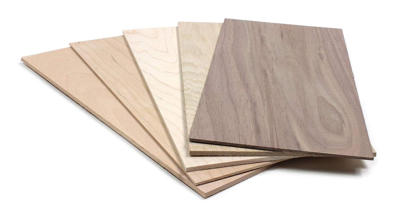 2 mm Set impiallacciatura in legno 5 tipi di legno 30 x 14 cm set da 5 piastre in vero legno per bricolage fai da te