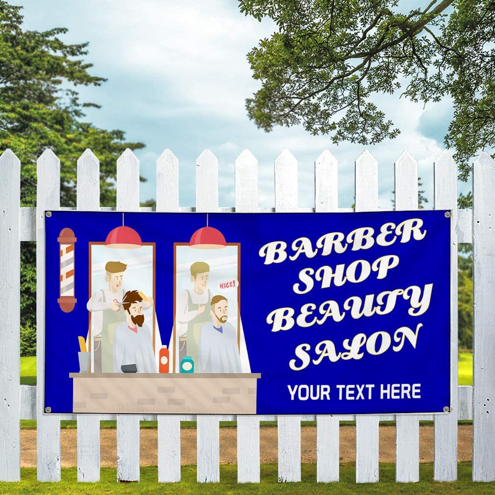 Custom Industrial Vinyl Banner Multiple Sizes Barber Shop Beauty Salon B Personalized Text Here Business Outdoor Weatherproof Yard Signs Blue 10 Grommets 60x120Inches