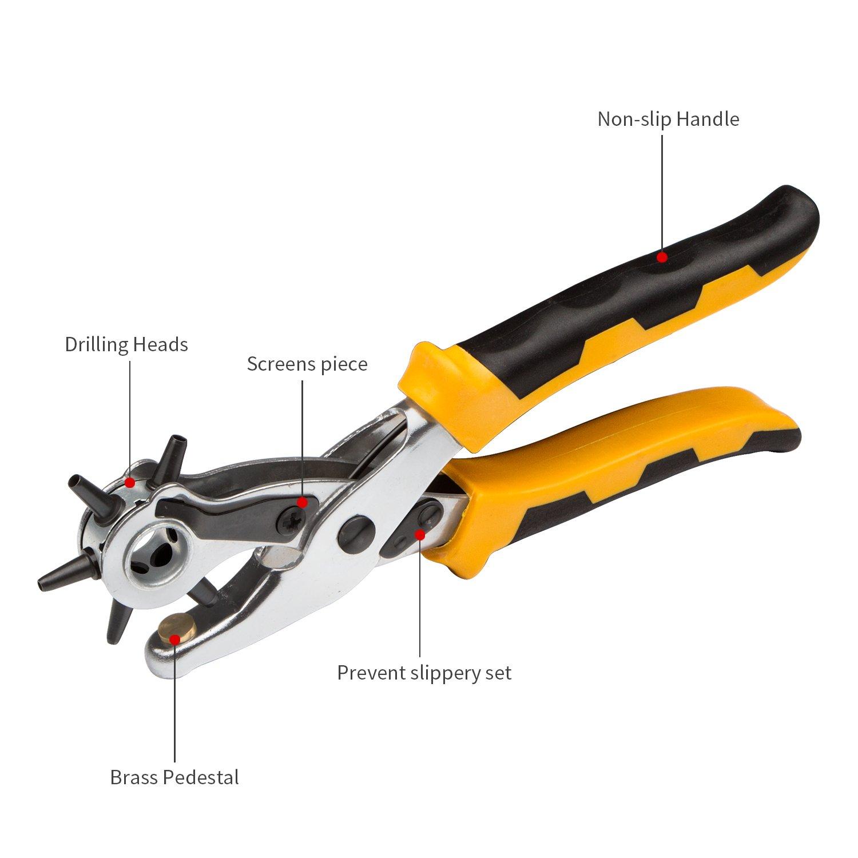 Set agujero, jelegan perforación sacabocados (agujeros redondos girar piel Cinturón Perforación alicates/Eyelet Plier/Snap Button Setter – 2,5 mm, 3 ...
