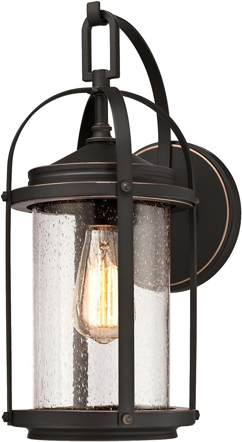 Westinghouse Lighting 6339300 Grandview One Light Outdoor Wall Fixture Oil Rubbed Bronze Finish With Highlights And Clear Seeded Glass Amazon Com