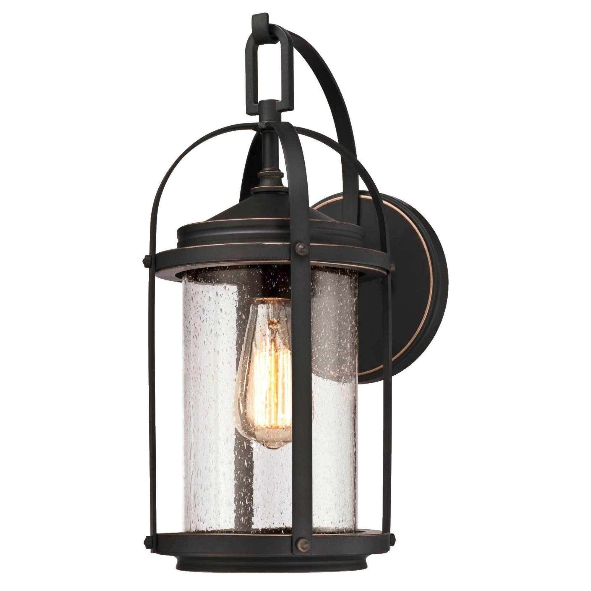 Westinghouse Lighting 6339300 Grandview One-Light Outdoor Wall Fixture, Oil Rubbed Bronze Finish with Highlights and Clear Seeded Glass by Westinghouse Lighting