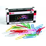 ACCO Vinyl Coated Coloured Jumbo Paper Clips, 2-Inch Size, Assorted Colours, Box of 100 Clips (5050572523)