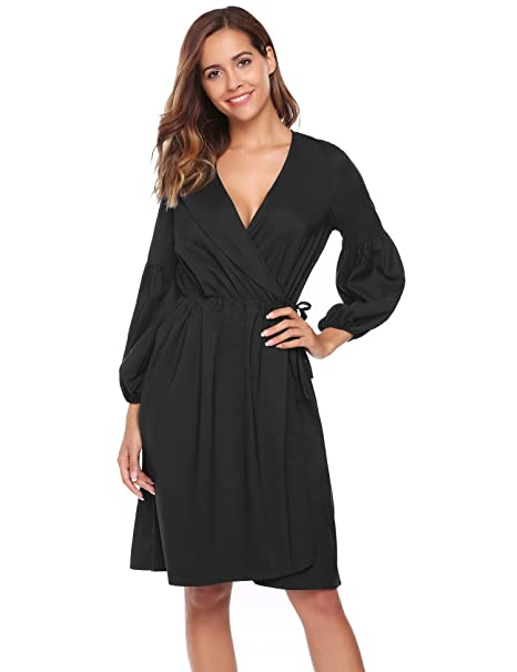 d18e88f3112 ANGVNS Women s Retro Deep-V Neck Long Sleeve Vintage Cocktail Swing Dress  Black