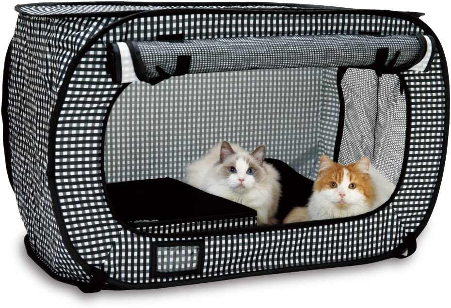 Necoichi Portable Stress Free Series, Cage, Litter Box, Carrier, Foldable, Light Weight, Water Resistance, Quality Construction, Always Ready to go! (Cage and Litter Box Set)