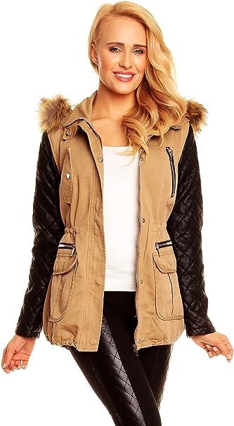 Best Emilie Winter Damen Jacke Mantel mit Fell Blogger Parka Lederärmel Kapuze SML XL X576
