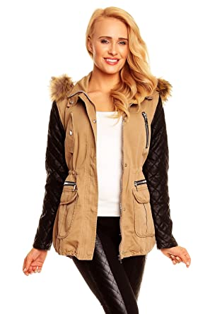Beige winterjacke mit fell damen