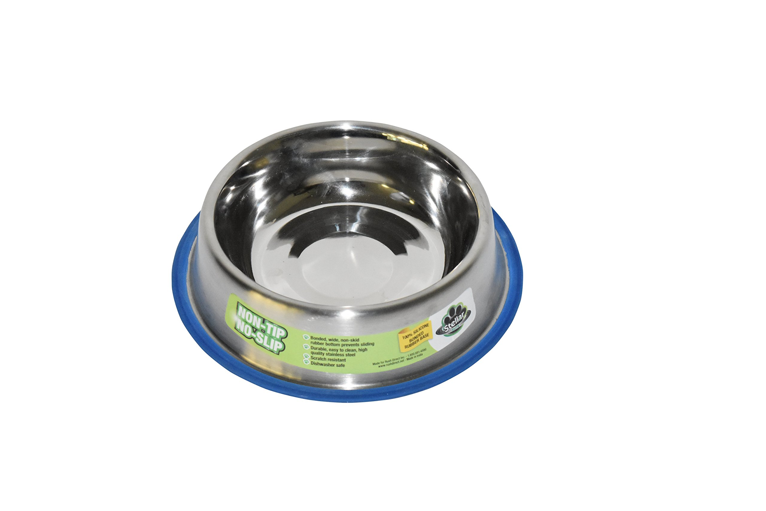 Stellar Bowls Non Tip Anti Skid Dish with 100% Silicon Bonded Rubber Ring, 24 oz by Stellar Bowls