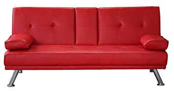 Fine Pul Clic Clac Sofa Bed 3 Seater Faux Leather Sofa Drink Holder Black White Brown Red Red Download Free Architecture Designs Philgrimeyleaguecom