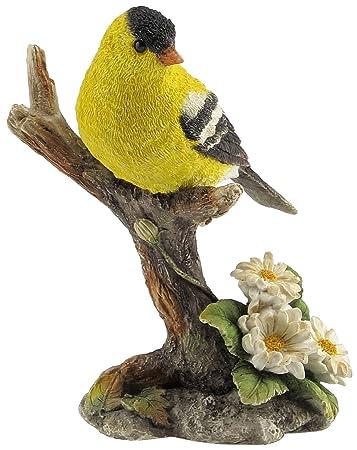 4.5 Inch Goldfinch Bird on Branch Decorative Statue Figurine, Yellow