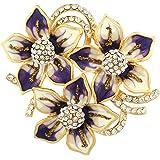 Neoglory Jewellery 14 K gold Blume-Brosche mit Strass Damen lila