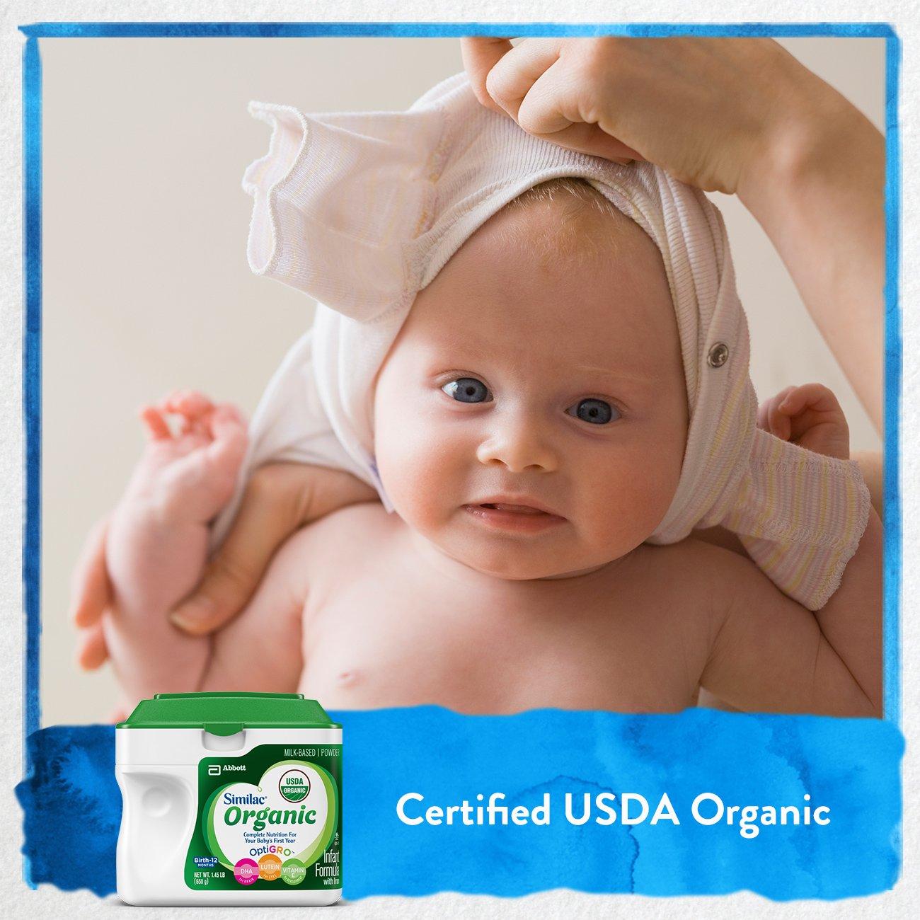 Similac Organic Infant Formula with Iron, USDA Certified Organic, Baby Formula, Powder, 1.45 lb (Pack of 6) by Similac (Image #3)