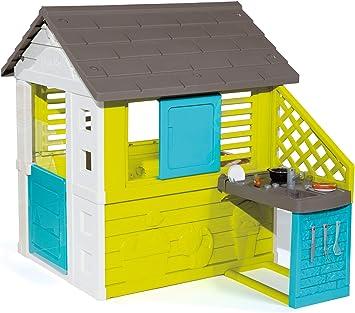 Smoby - 810711 - Maison de Jardin Pretty + Cuisine - 2 Fenêtres + 17  Accessoires