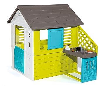 Smoby 810711 Pretty Spielhaus mit Küche, grau,grün,türkis: Amazon.de ...