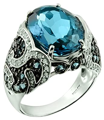 RB Gems Sterling Silver 925 Ring Genuine London Blue Topaz and Blue Sapphire 7.62 Cts with Rhodium-Plated Finish