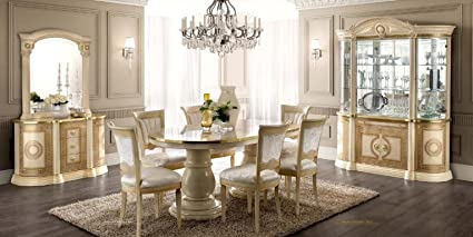 8a149e2d2700 Amazon.com - ESF Aida High Gloss Ivory Gold Finish Dining Room Set 8 ...